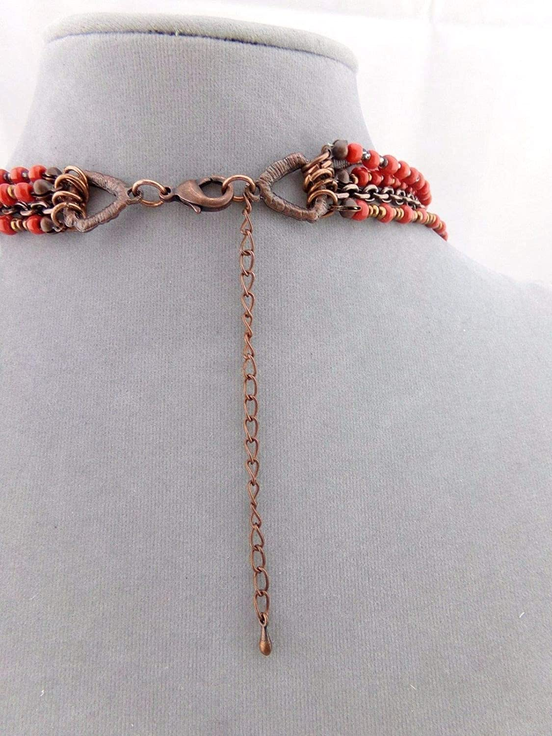 Long Layered Red Bead Necklace Earring Set Fashion Jewelry New #ID-206