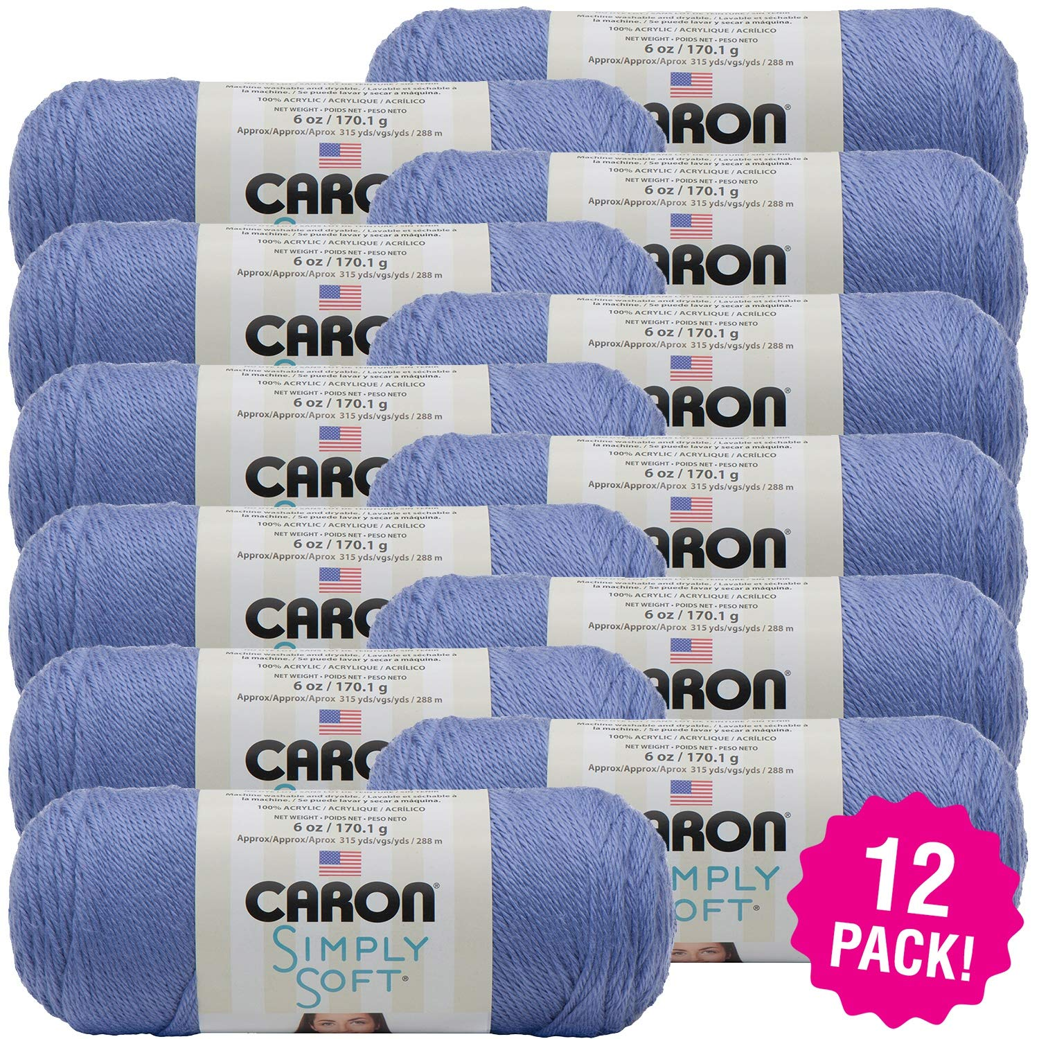 Caron 98073 Simply Soft Solids Yarn-Lavender Blue, Multipack of 12, Pack