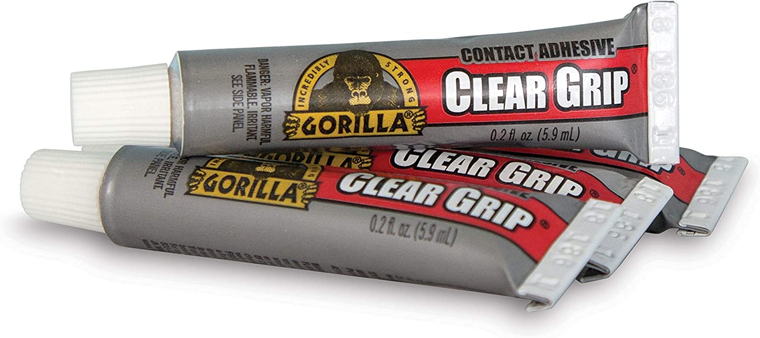 Pack of 1 Clear, Gorilla Clear Grip Contact Adhesive Minis Four .2 ounce Tubes Waterproof