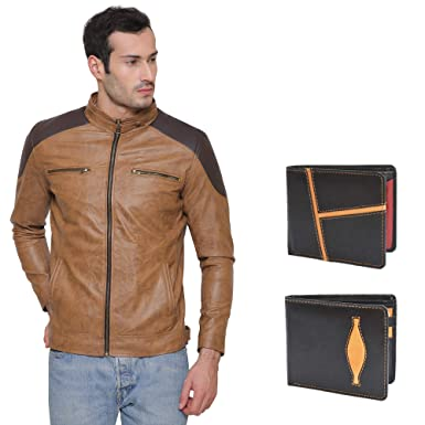 69577646a CRAPGOOS 100% PU Leather Brown Full Sleeves Solid Design Jacket for Men's  with Wallet Combo Set of 2