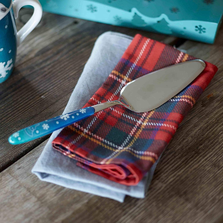 Acciaio Inox Linea Dolce Inverno THUN/® Pala Torta Multiuso con Manico Azzurro
