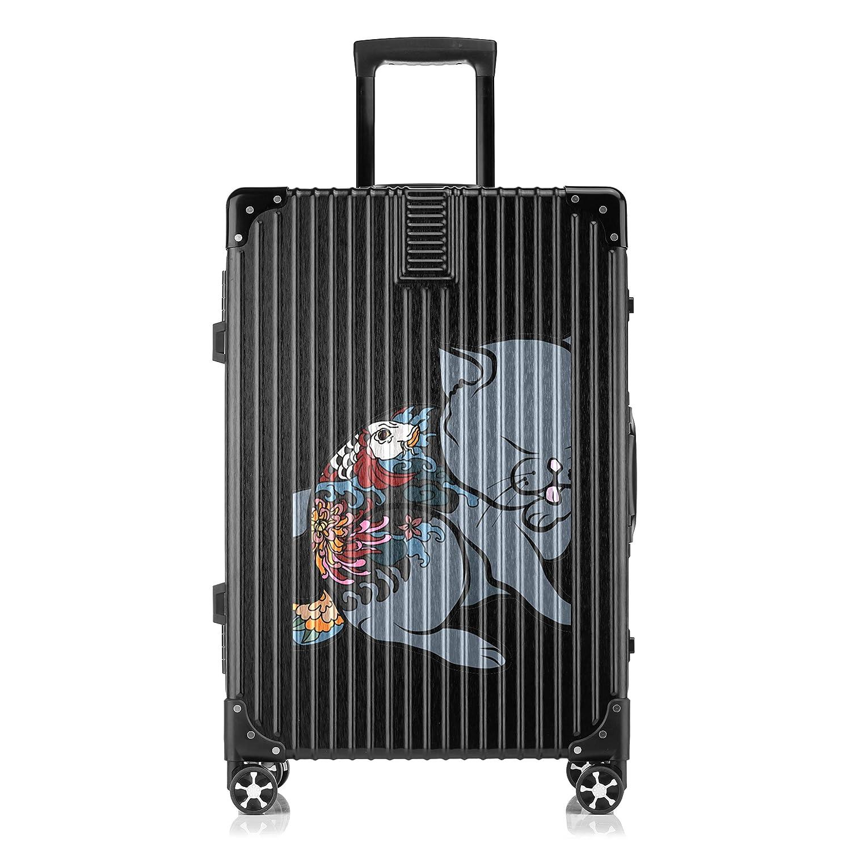 GSHCJ スーツケース かわいい動物 猫 キャリーケース 20インチ おしゃれ ブラック Tsaロック搭載 プリント ハード 超軽量 軽い 機内持込 ロックファスナー 旅行 ビジネス 出張 海外 修学旅行 丈夫 便利 レディース メンズ 学生 B07RZ84XJP