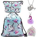 DRESHOW Unicorn Gifts for Girls 4 Pack - Unicornio Mochila con cordón/Maquillaje Bolsa/