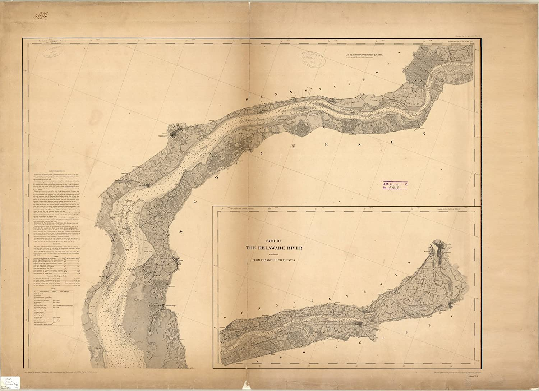 Amazon.com: Historic Map | Delaware Bay 1848 | Map of Delaware Bay on