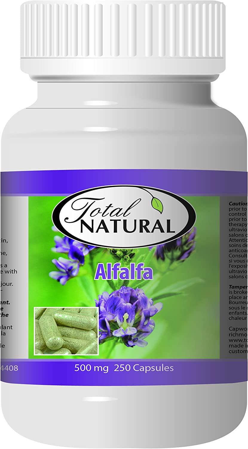 Alfalfa Organic Supplement 500mg 250 Capsules 2 Bottles by Total Natural, Premium Wild Harvest Alfalfa Tablets for Regulating Cholesterol, Acid-Base Balance