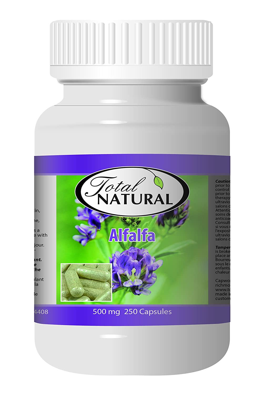 Natural Alfalfa Supplement 500mg 250 Capsules 5 Bottles by Total Natural, Premium Wild Harvest Alfalfa Tablets for Regulating Cholesterol, Acid-Base Balance
