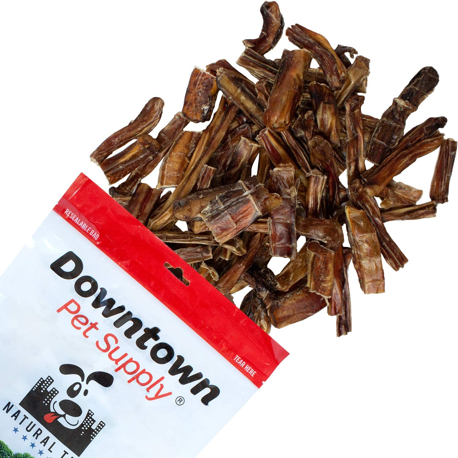 Downtown Pet Supply USA Bully Stick Bites Chew Meaty Bits Treats, All Natural Beef, for Small, Medium, and Large Dogs (8oz, 1 lb, 2 lb)