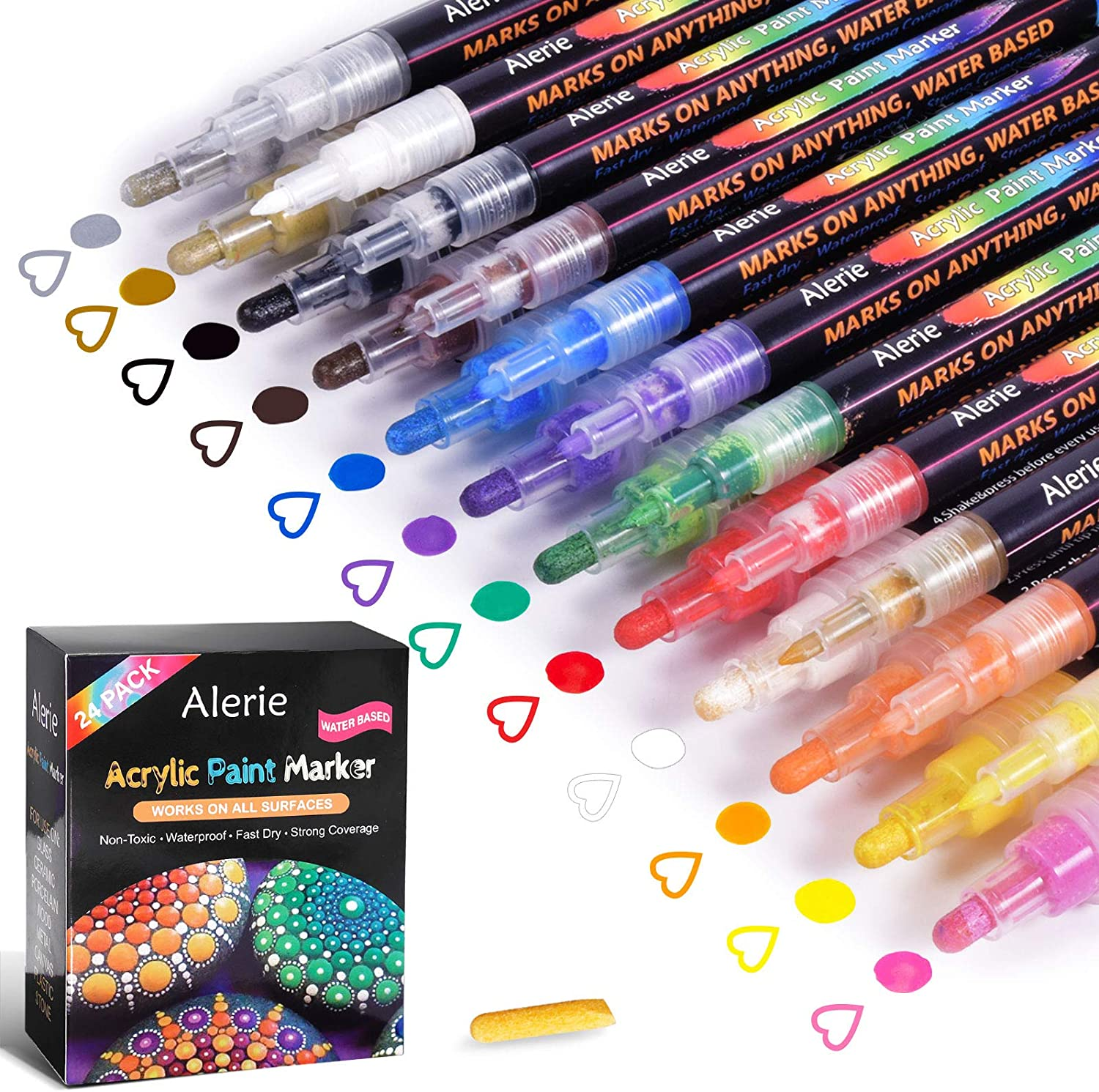 24 Colors Acrylic Paint Pens Fine Art Marker Metal Glass Rock Waterproof Paint