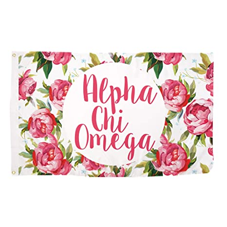 9ca17699509 Amazon.com   Alpha Chi Omega Rose Pattern Letter Sorority Flag Greek Letter  Use as a Banner Large 3 x 5 Feet Sign Decor AXO   Garden   Outdoor
