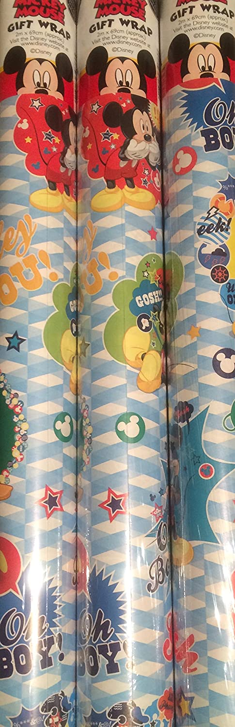 Disney Mickey Mouse Gift Wrapping paper 3 rolls x 2m: Amazon.co.uk ...