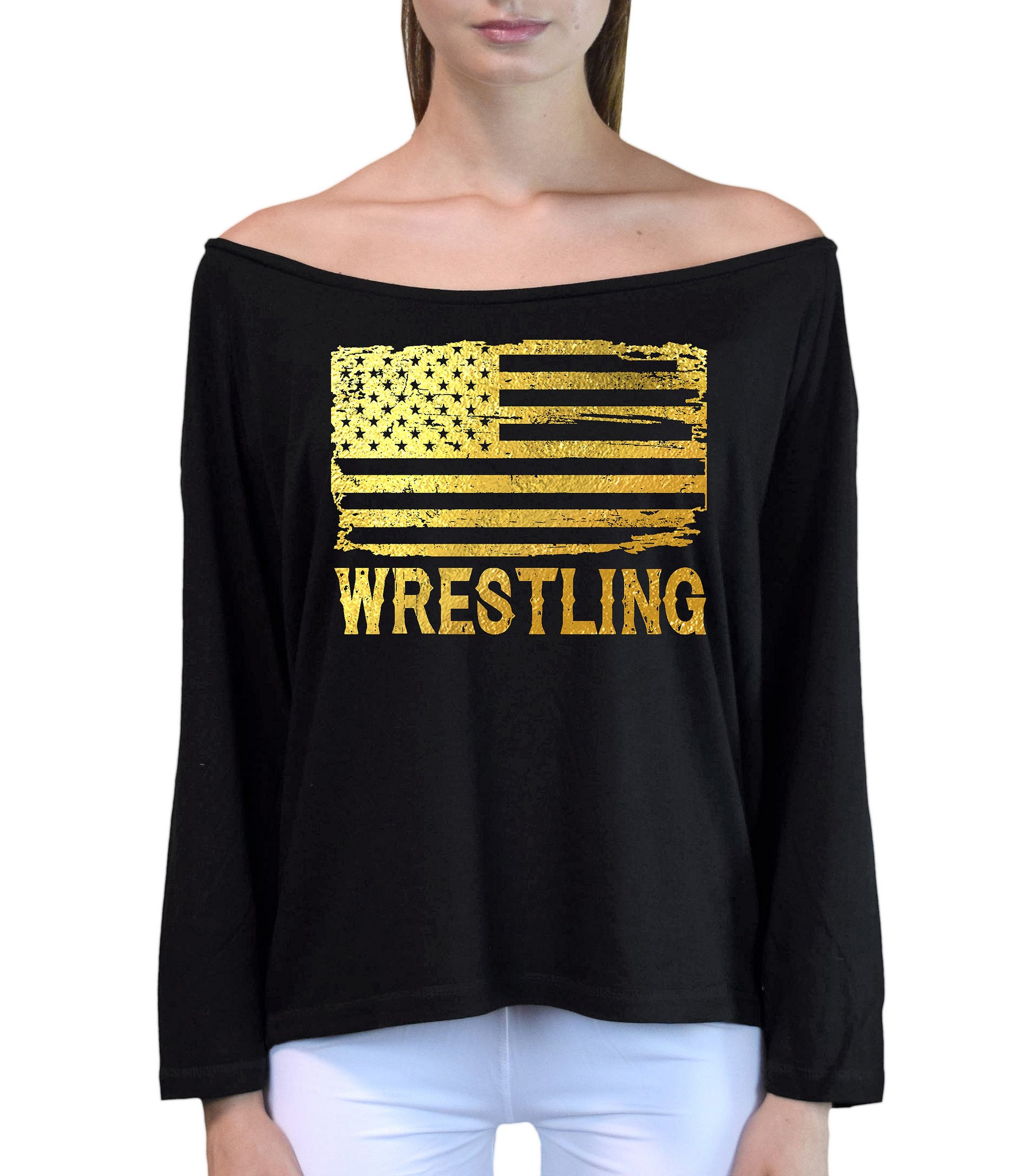Junior's Gold Foil Wrestling American Flag Black Off-Shoulder Long Sleeve T-Shirt S/M Black by Interstate Apparel Inc