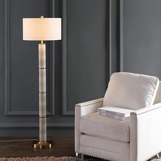 Safavieh Lighting Collection Marcello Faux Snakeskin Off White 60 5 Inch Floor Lamp Home Kitchen