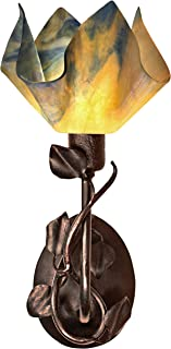 product image for Jezebel Signature BRSC-BBH-MA-FP12-STR Flame Style Brown with Brown Highlights Branch Sconce with Magnolia Leaves, Strawflower