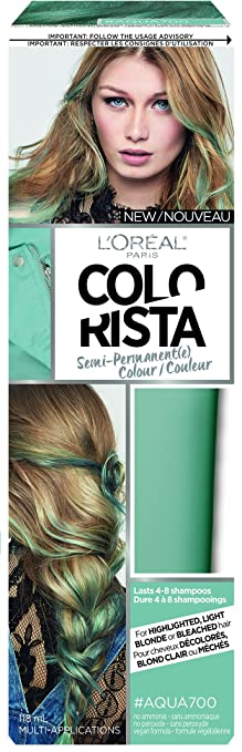 L'Oreal Paris Colorista Semi-Permanent for Light Blonde or Bleached Hair, #Aqua700