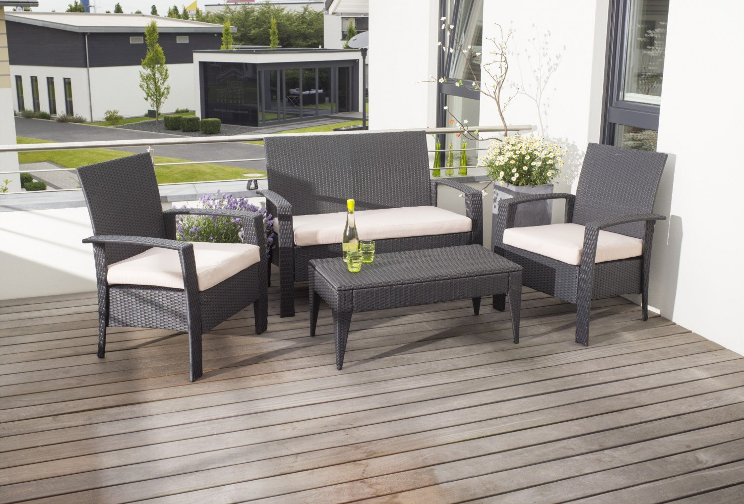 greemotion lounge set bergamo rattan 4 teilig schwarz g nstig online kaufen. Black Bedroom Furniture Sets. Home Design Ideas