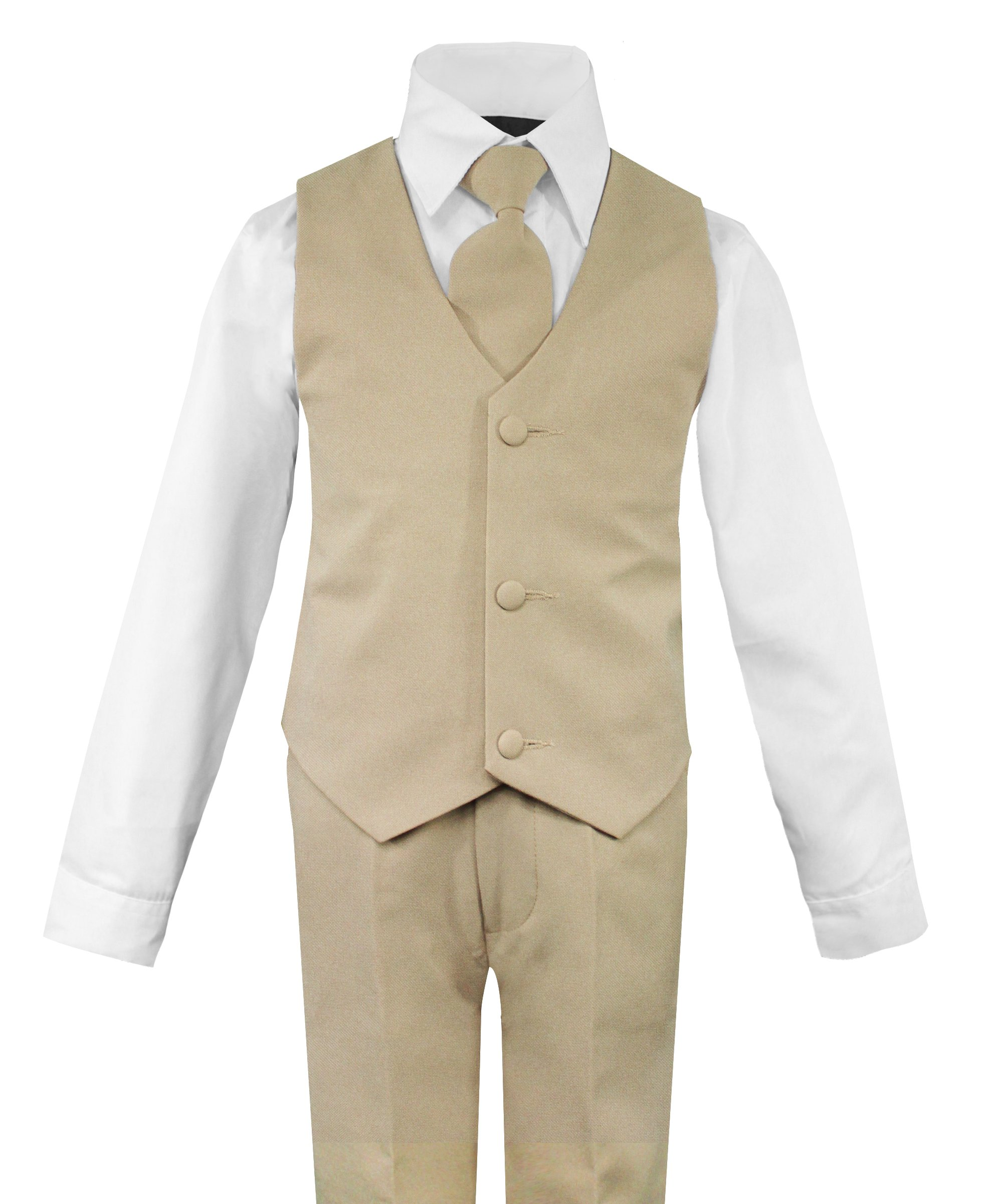 Luca Gabriel Toddler Boys' 5 Piece Classic Fit No Tail Formal Khaki Dress Suit Set with Tie and Vest - Size 7 by Luca Gabriel (Image #2)