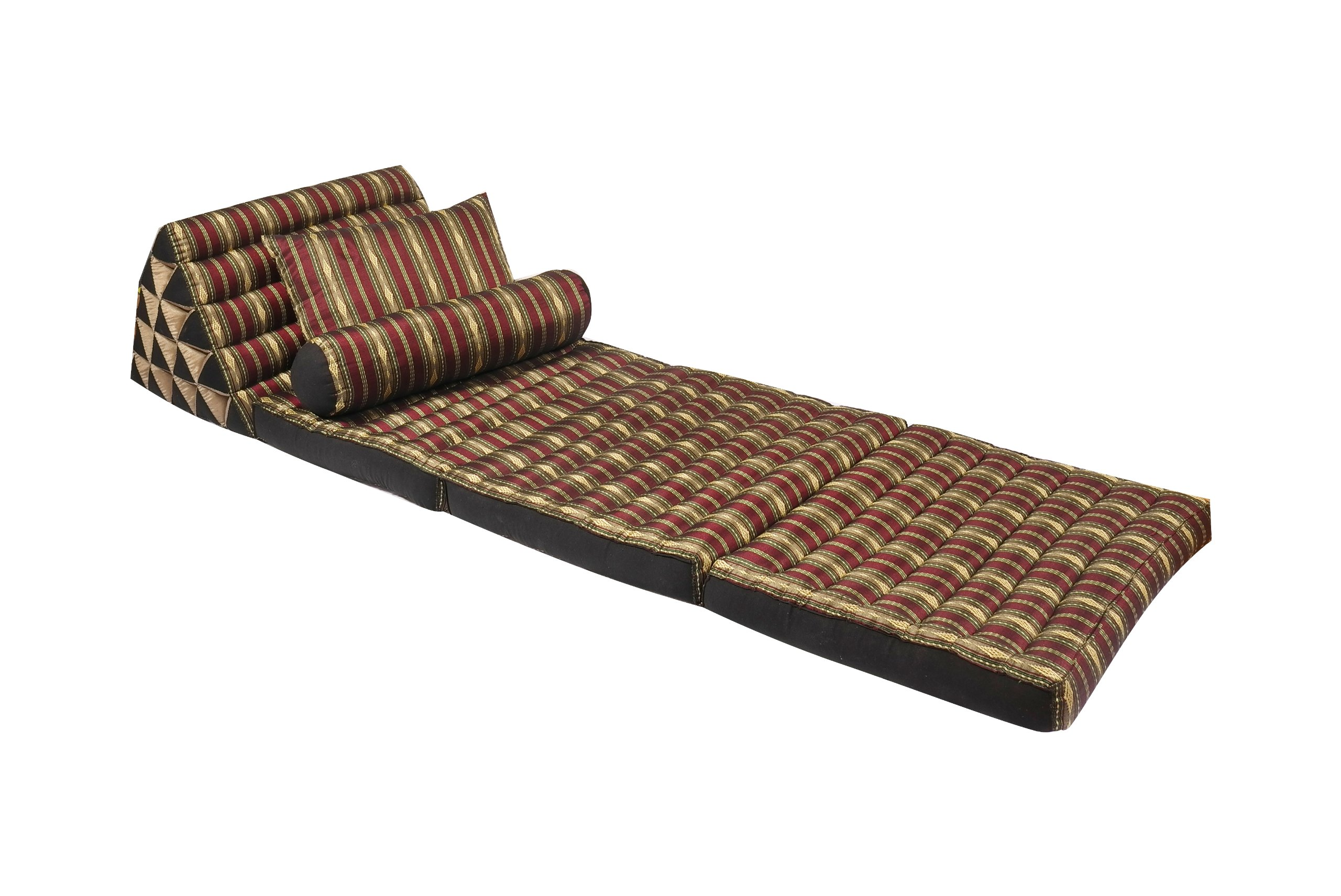 Extravagant Thai Pillow Set: Triangle Mat + 2 Decorative Pillows, 100% Kapok Stuffing, Radiant Burgundy&gold Stripes by Handelsturm Thaikissen