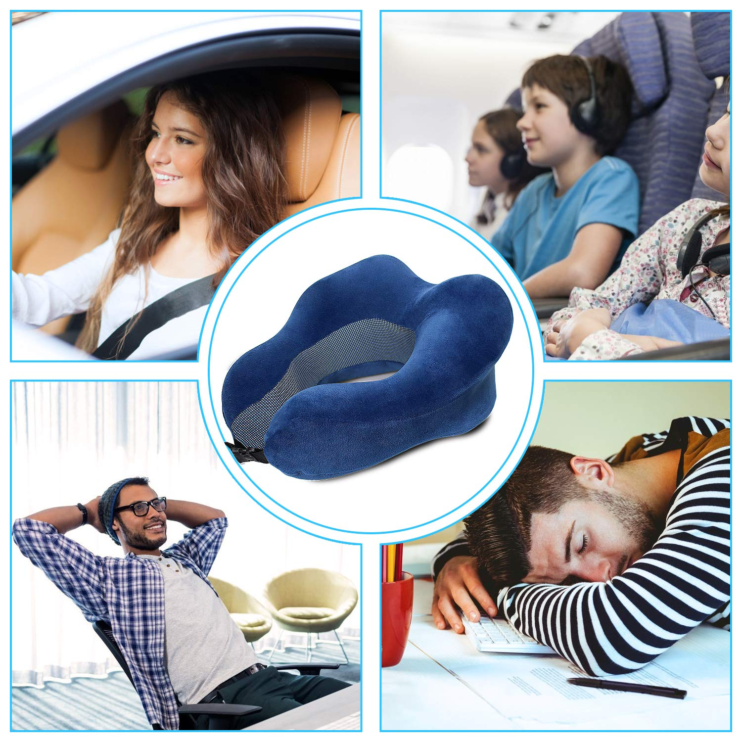 Travel Pillow, Comfortable & Breathable 100% Pure Memory Foam Neck Pillow for Traveling Car Airplane Bus Train with Portable Drawstring Bag(Adult Size, Blue)