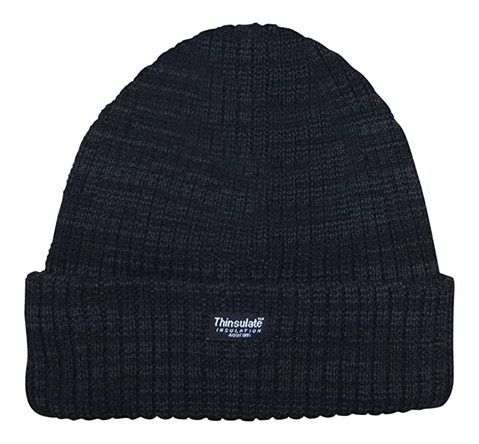 413ea1513b6 Thinsulate - Unisex Marl Chunky Knitted 3M Thermal Winter Beanie Hat (Black  Marl)