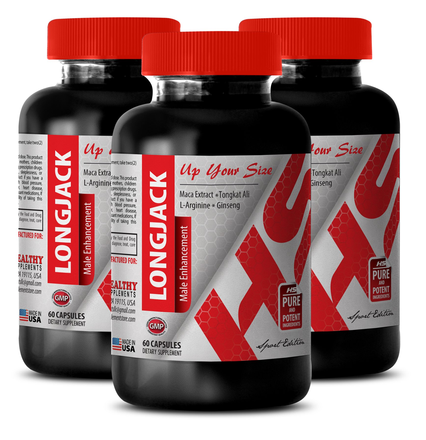 Pills for men bigger - LONGJACK - MALE ENHANCEMENT - UP YOUR SIZE - Tongkat ali male supplement - 3 Bottles 180 Capsules