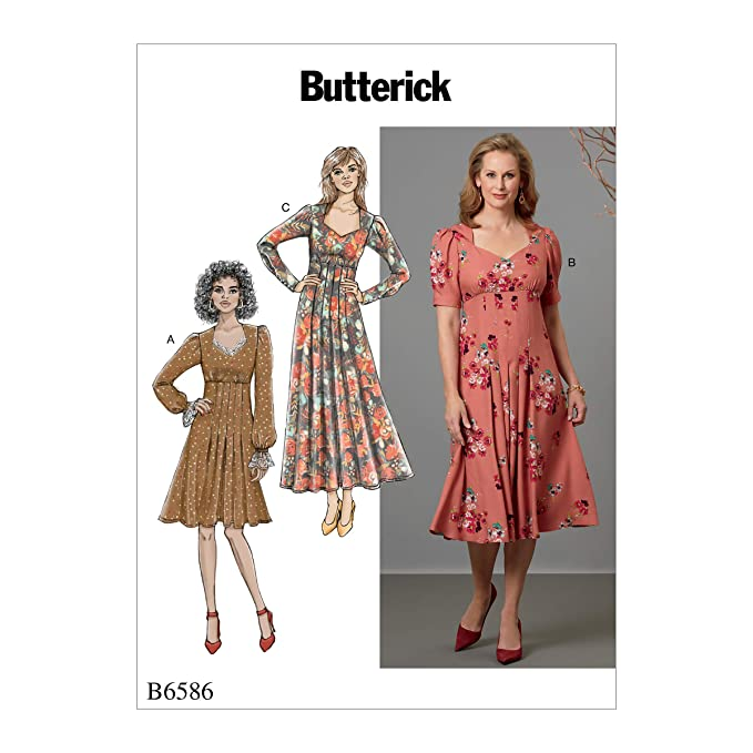 1940s Sewing Patterns – Dresses, Overalls, Lingerie etc Butterick Patterns B6586A5 Womens Knee Ankle Length Pleater Dress Sewing Patterns 6-8-10-12-14 White $11.97 AT vintagedancer.com