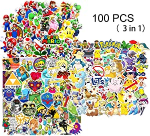 Kilmila Video Game Stickers [100pcs], Random Animals Monsters Sticker for Kids Toddlers Children Teen Computers Laptop Skins Vinyl Decals Water Bottles Bike Luggage