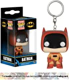 Batman [Orange]: Funko Mystery Pocket POP! x The Rainbow Batman Mini-Figural Keychain + 1 Official DC Trading Card Bundle (06432)
