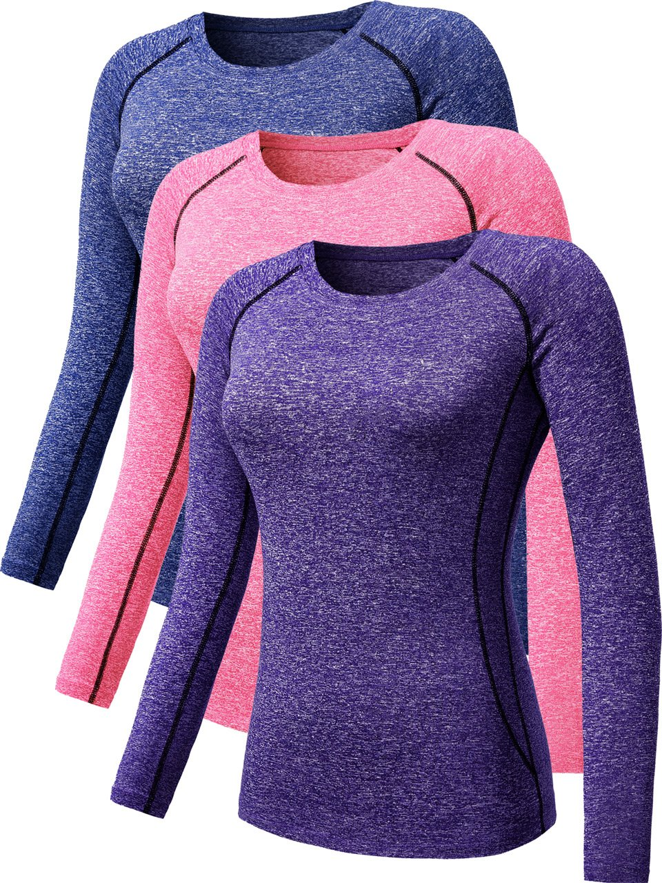 Neleus Women's 3 Pack Compression Wear Athletic Long Sleeve Shirt for Girls,8021,Blue,Purple,Pink,S by Neleus