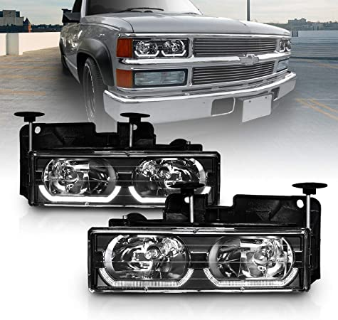 Passenger and Driver Side AmeriLite Chrome Crystal Replacement Headlights LED Halo Pair for Chevy Fullsize