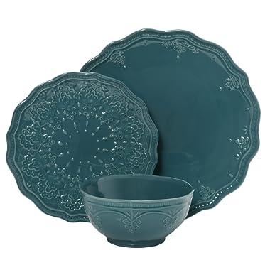 Farmhouse Lace Dinnerware Set, 12-Piece, Ocean Teal (Ocean Teal)