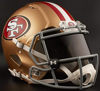 2fdb4a494 Amazon.com   Riddell SAN Francisco 49ERS NFL Authentic Gameday Football  Helmet with Dark-Tint Black Eye Shield   Sports   Outdoors