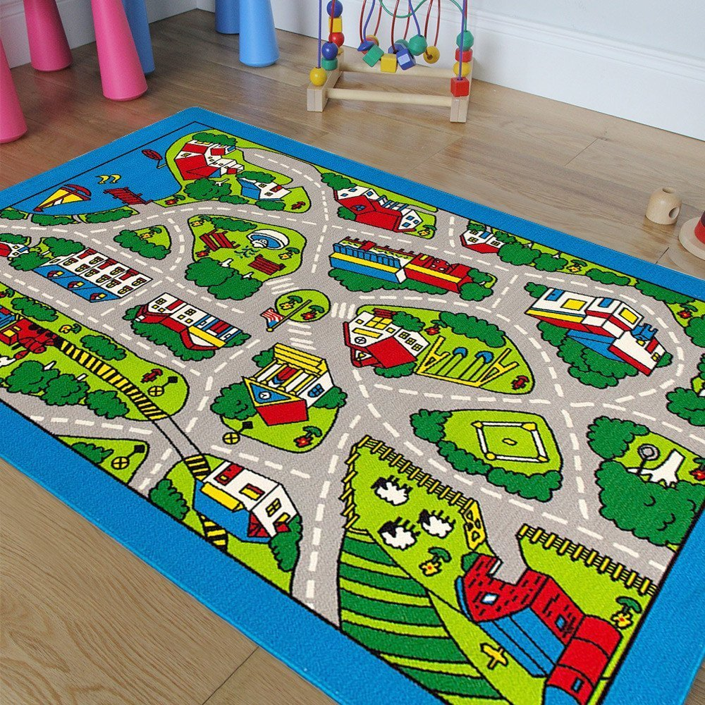Kids / Baby Room / Daycare / Classroom / Playroom Area Rug. Great For Playing With Cars. City Map. Car Tracks. Roads. Fun. Educational. Non-Slip Gel Back. Blue. Gray. Play Mat (8 Feet X 10 Feet) by Champion Rugs