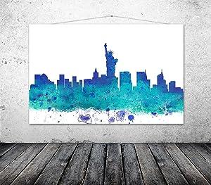 New York Poster, Cityscape, NY Art, New York Christmas Gift, Art For Office