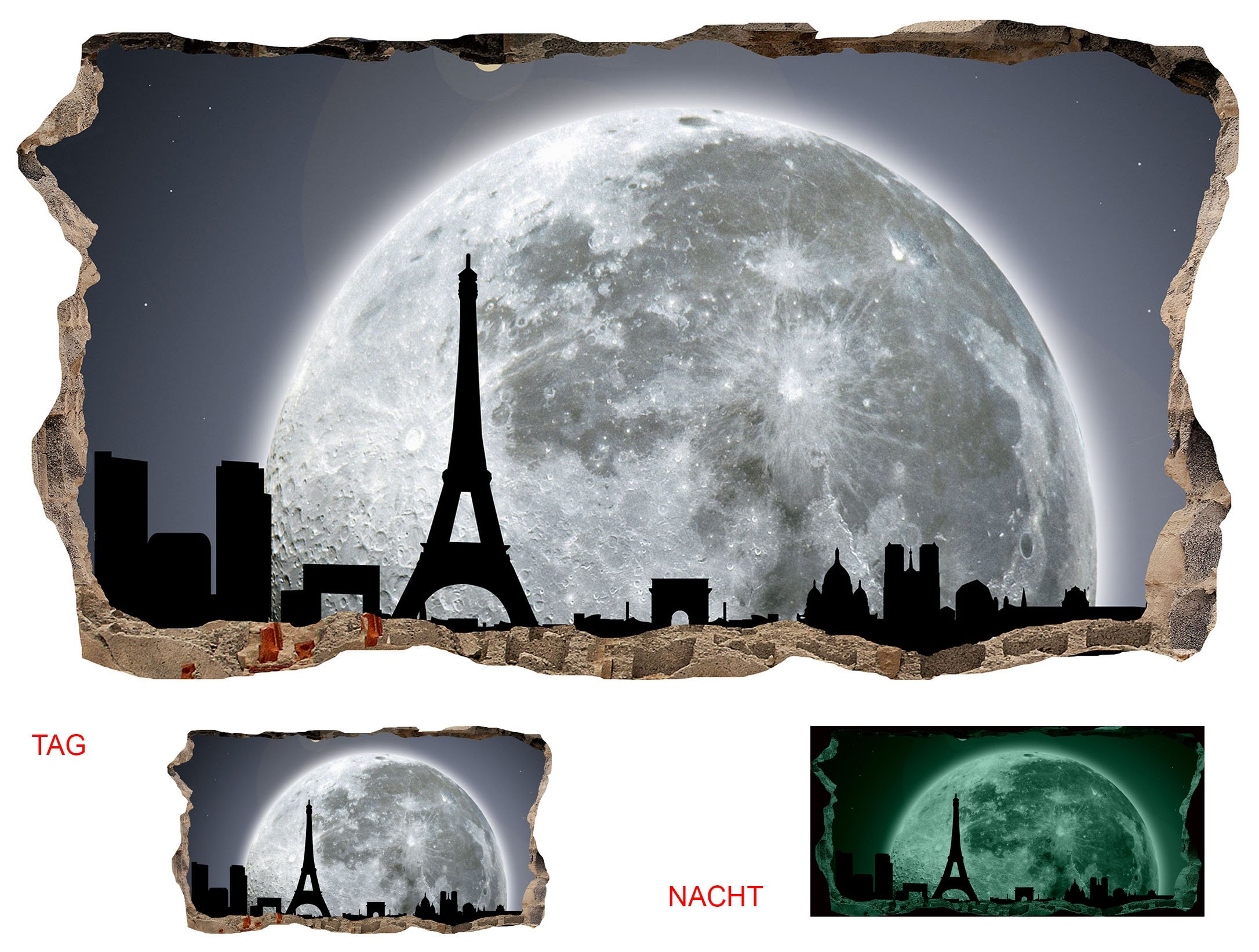 Startonight 3D Mural Wall Art Photo Décor Window Moon for Paris Amazing Dual View Surprise Large Wall Mural Wallpaper for Living Room or Bedroom Urban 120 x 220 cm