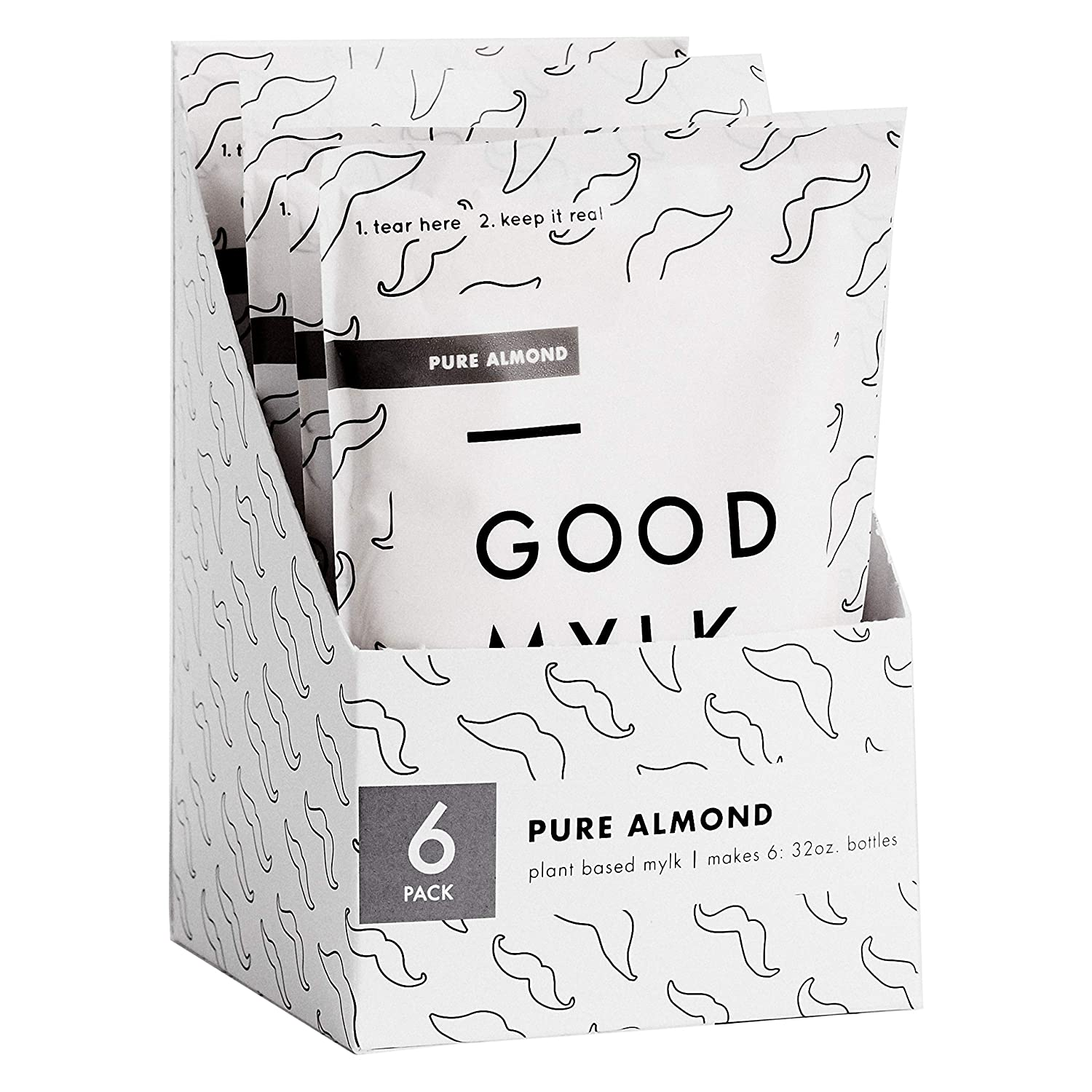 Goodmylk Co. - Almond Milk Concentrate (6 Pack) - Makes 6, 32oz Bottles - Organic, Non-GMO, Vegan, Low Glycemic, Sustainable, Keto, Dairy Free (Unsweetened)