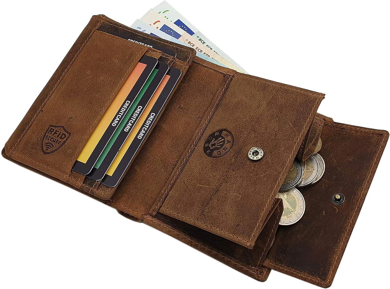Mod/éle 1 // Format en Hauteur Cuir de Buffle Porte-Monnaie avec Sanglier Motif en Format en Hauteur ou Format Oblong avec Blocage RFID et NFC en Marron