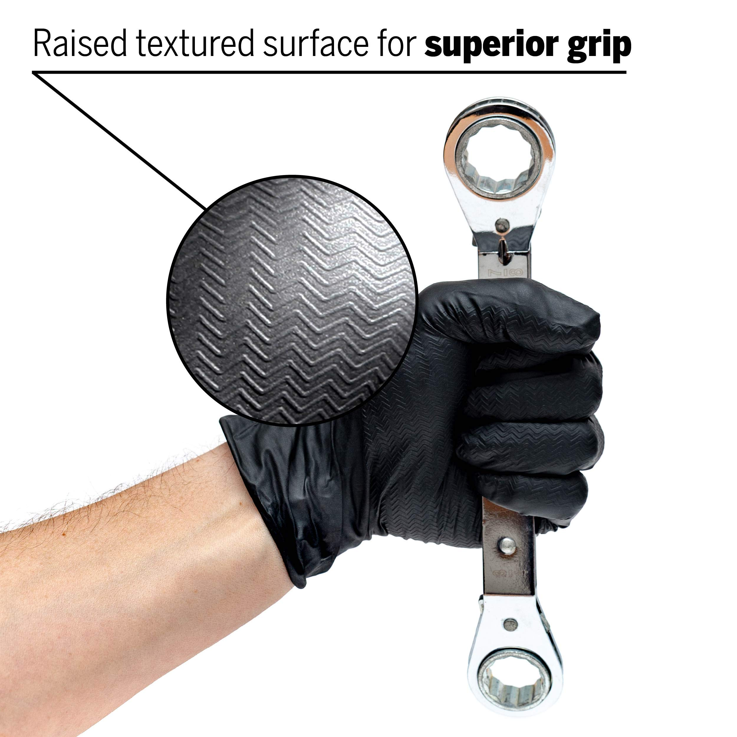Lion Grip Black Disposable Nitrile Gloves, Medium, Case of 1000 - Superior Grip for Mechanics, Auto Hobbyists, Industrial & Manual Laborers, Cleaning Work & More EPPCO 95005 by EPPCO Enterprises (Image #2)