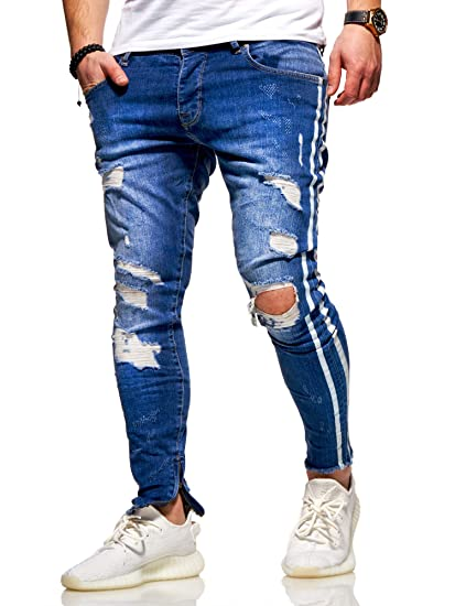 behype. Herren Destroyed Stretch Jeans-Hose im Used-Look mit Side-Stripe 80-0496