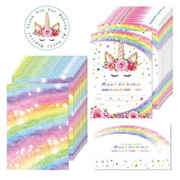 Amazon Com Magical Rainbow Unicorn Birthday Invitation Outego