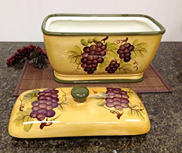 Kitchen Decor Grape Desing Tuscany Wine Bread Canister Box