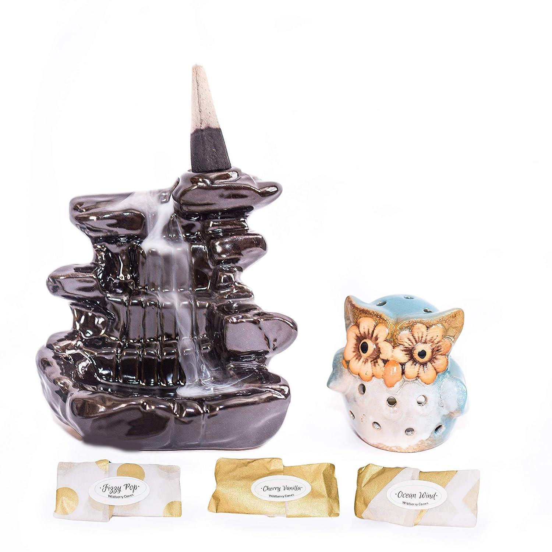 AZPIR3 Backflow Incense Burner|Free Incense Cone & Mini Owl Incense Holder|Waterfall Incense Burner|Incense Burner Holder|Incense|Home Decor|Office Decor|Kitchen Decor|Home Office Decor|Aromatherapy