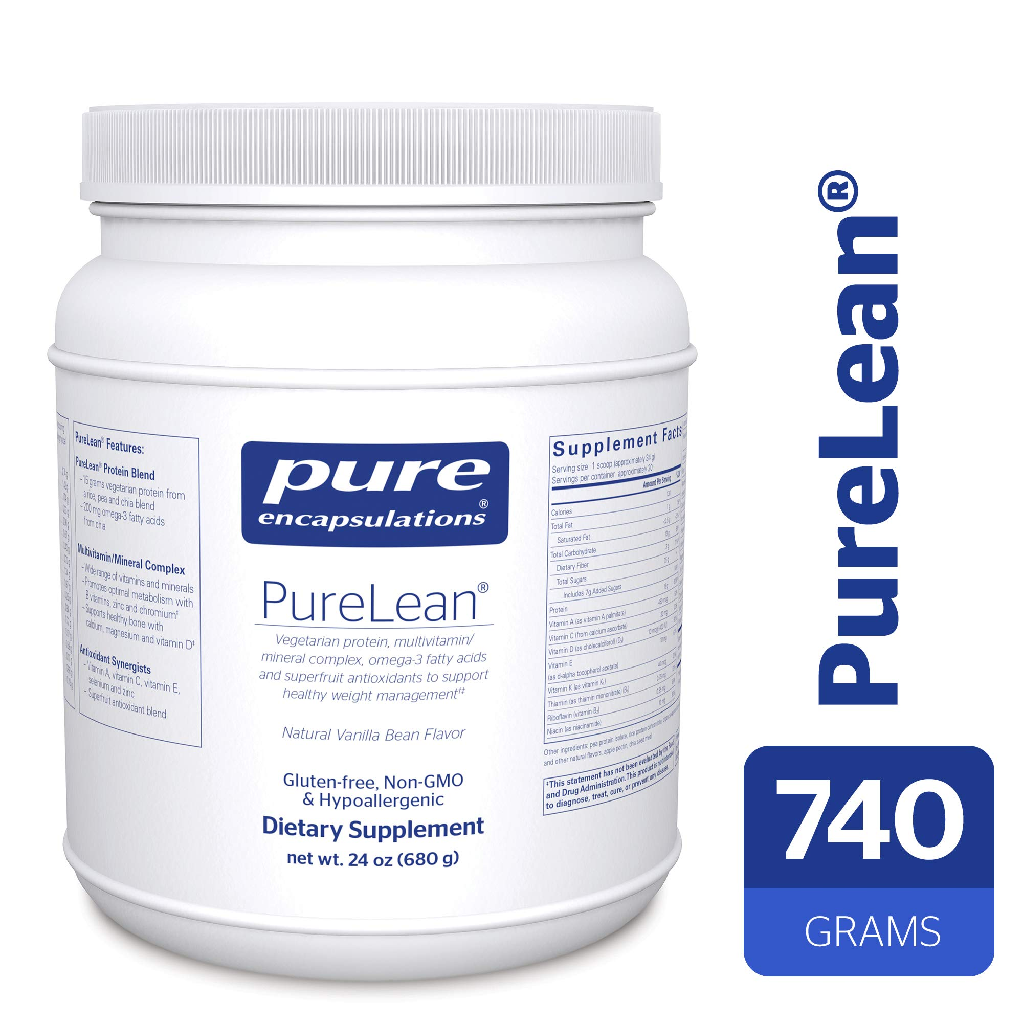 Pure Encapsulations - PureLean - Vegetarian Protein for Healthy Weight Management** - Natural Vanilla Bean Flavor - 680 Grams