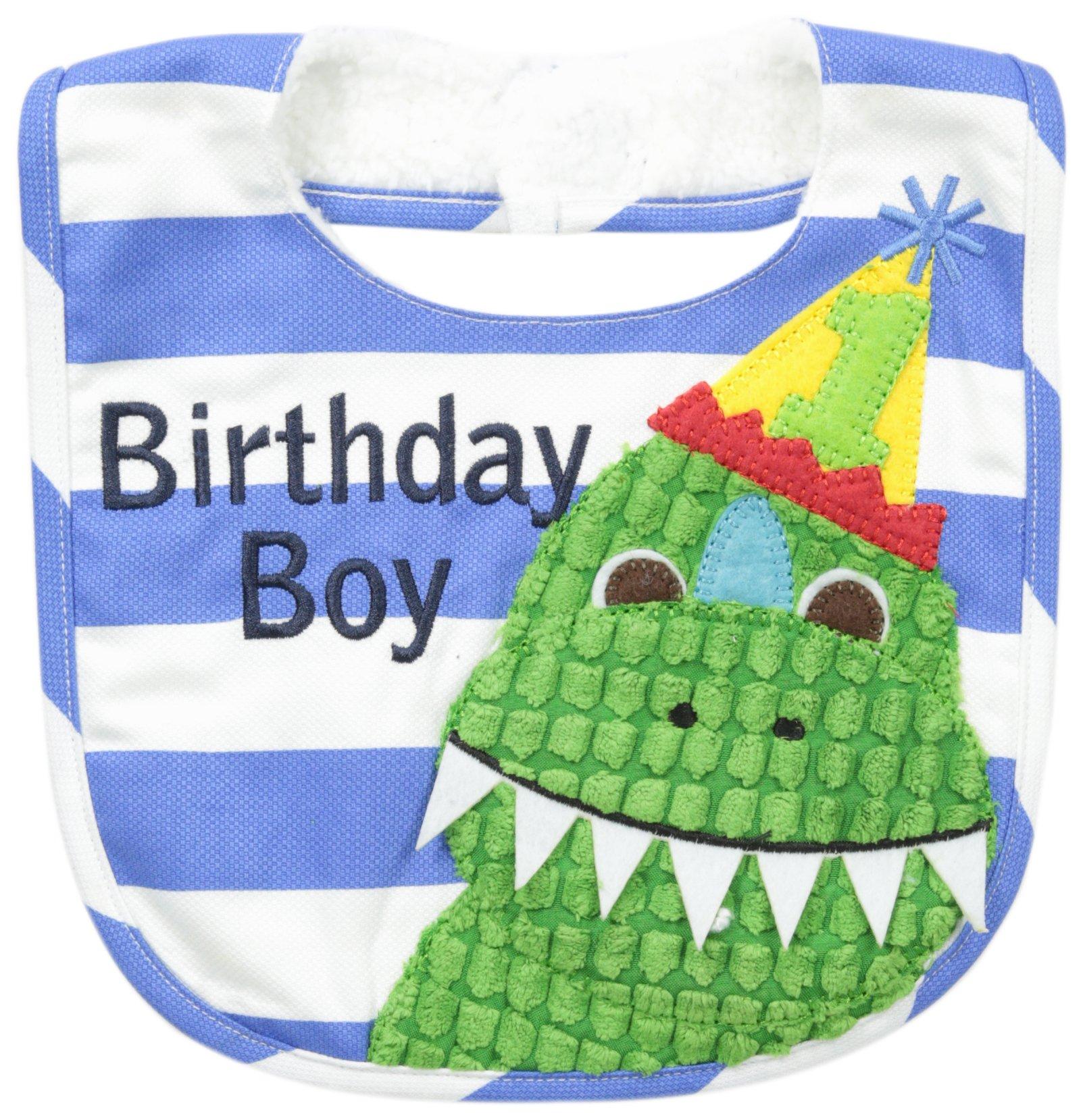Mud Pie Baby-Boys Newborn Birthday Dino Bib, Birthday Boy, One Size
