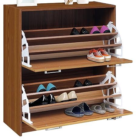 Amazon.com: 4D Concepts Deluxe Double Shoe Cabinet, Oak: Kitchen ...