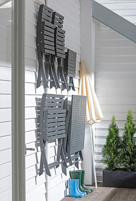 Dehner Klapptisch Stavanger 80 x 80 x 75 cm FSC Akazienholz ca Grau Tavolo Pieghevole