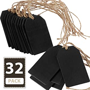 Chalkboard Tags Hanging Wooden Mini Chalkboard Signs Wooden Chalkboard Tags, Hanging Chalkboard Labels, Ideal Price Tags, Message Tags, Black (32)