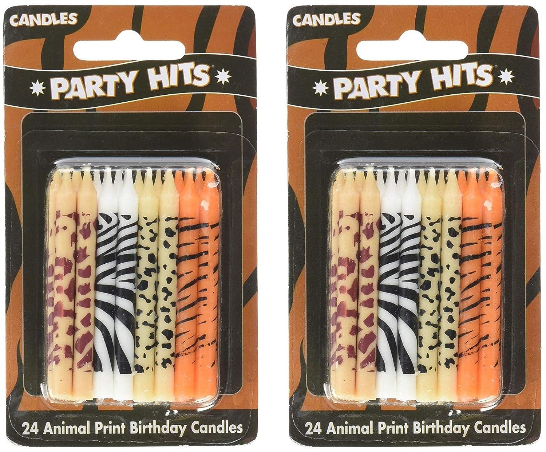 24 pc Safari Wild Animal Print Birthday Cake Candles