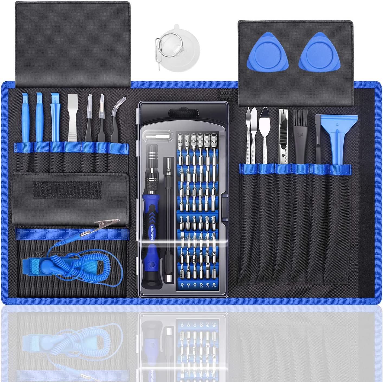 80 IN 1 Professional Computer Repair Tool Kit, Precision Laptop Screwdriver Set, with 56 Bit, Anti-Static Wrist and 24 Repair Tools, Suitable for Macbook, PC, Tablet, PS4, Xbox Controller Repair: Computers & Accessories