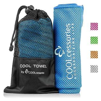 COOLcessories Toalla de Microfibra de Secado rápido: Toallas de Gimnasio para el Cuello y el Cuerpo, Secado rápido, Azul: Amazon.es: Deportes y aire libre