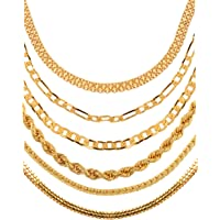 AanyaCentric Golden Heavy and Long Gold-Plated Statement Necklace/Neck Chains Without Pendant Lockets for Men and Women -Combo Pack of 6